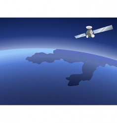 satellite over planet vector image