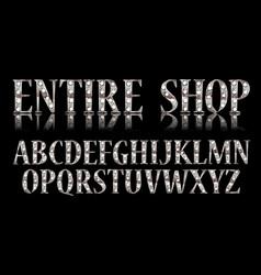 silver 3d broadway alphabet vector image