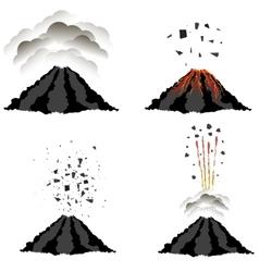 Volcano Erupting Peak of Mountain Fiery Crater vector image