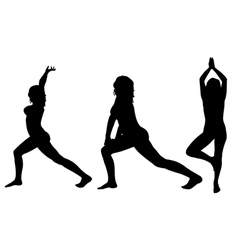 yoga silhouettes vector image