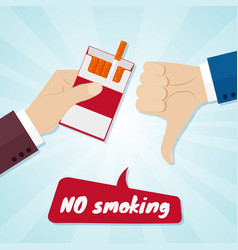 hand rejecting proposal smoke from pack in hand vector image