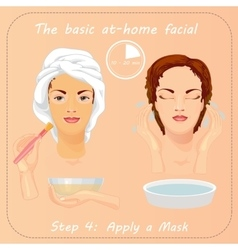 Young woman cares her face with mask facial care vector