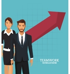 business people teamwork growth arrow vector image vector image
