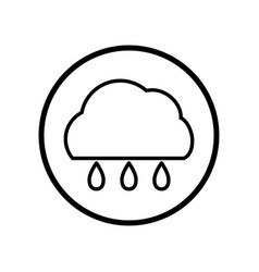 cloud and rain icon in circle line - vector image