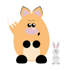 fox and rabbit surprised vector image