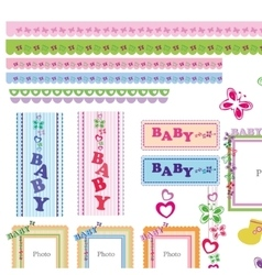 Set BABY elements vector image