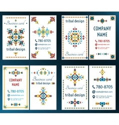 Set of cards with bright tribal geometric ornament vector image vector image