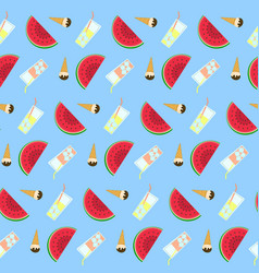 Summer freeze pattern with tasty deserts vector