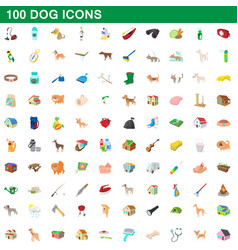 100 dog icons set cartoon style vector image