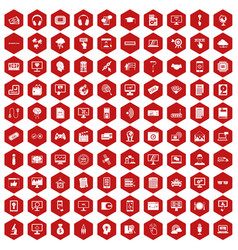 100 website icons hexagon red vector image