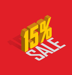 15 percent off sale golden-yellow object 3d vector image