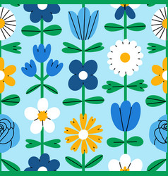 abstract folk flowers seamless pattern vector image
