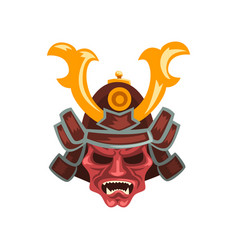 ancient samurai warrior war helmet with horns vector image