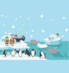 Artic animals with eskimo background vector