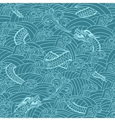 Asian pattern with dragon background vector