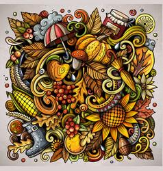 Autumn cartoon doodles fall poster design vector