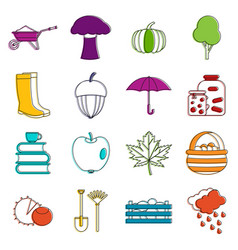 autumn icons doodle set vector image