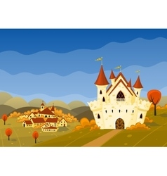 Autumn landscape with village and castle vector
