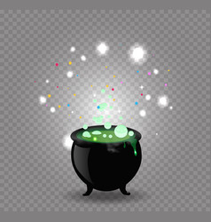 black witch cauldron with green sparkling potion vector image