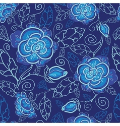 Blue night flowers seamless pattern background vector image