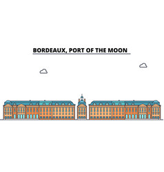 Bordeaux port of the moon line travel landmar vector