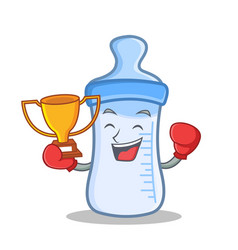 Boxing winner baby bottle character cartoon vector