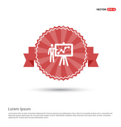 business man with growing graph icon - red ribbon vector image