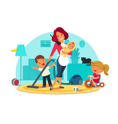 busy mother feeds child vector image