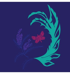 Butterfly with Floral4 vector