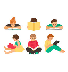 cartoon reading kids vector image