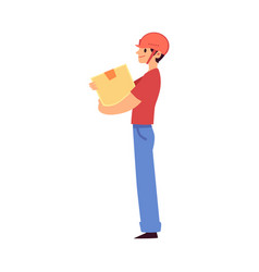 Cartoon warehouse worker man holding a cardboard vector