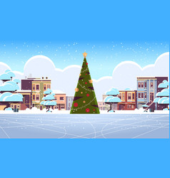 christmas ice rink empty no people snowy city vector image