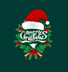 christmas wordmark santa face concept vector image