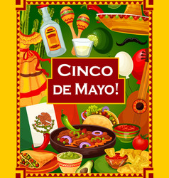 cinco de mayo mexican holiday party greetings vector image