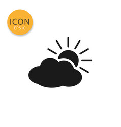 cloud with sun icon isolated flat style vector image