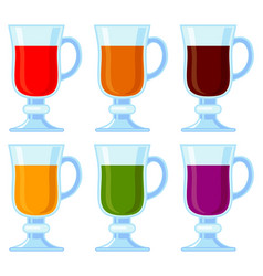 colorful cartoon various smoothie set vector image