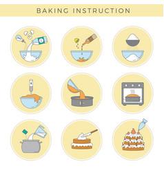 Cooking cake preparing food stages steps vector