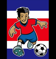 Costa rica soccer player with flag background vector