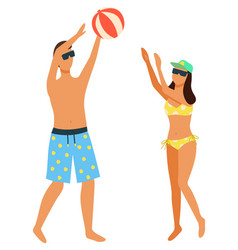 couple playing beach volleyball isolated on white vector image