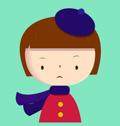 cute girl wearing purple scarf and beret vector image