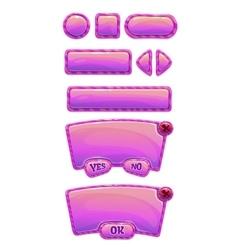 Cute glossy pink GUI set vector