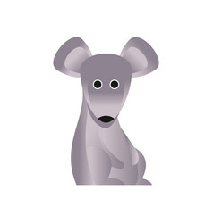 cute grey mouse stylized geometric animal low vector image