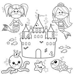 cute mermaids underwater vector image