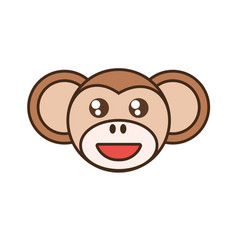 Cute monkey face kawaii style vector