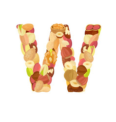 Delicious letter made from different nuts w vector