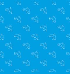 Dinosaur tyrannosaur pattern seamless blue vector