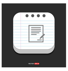 document icon gray icon on notepad style template vector image