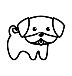 Dog little tongue out outline vector