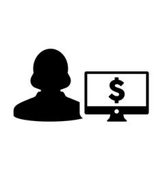 Dollar sign icon female user person profile vector