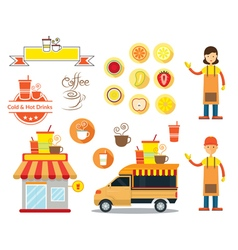 Drinks and Beverage Shop Graphic Elements vector image